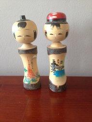 2 Kleine Vintage Japanse Kokeshi Poppen / Doll