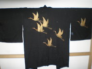Traditionale Japanse Haori Zwart Kraanvogel Goud Vintage