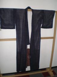 Traditionele Japanse Kimono Zwart Rond Grijs Bloem Vintage