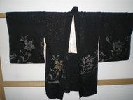 Traditionele Japanse Haori Kimono jasje Zwart Bloemen Zilver