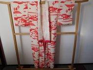 Traditionele Japanse Kimono wit/rood bladeren