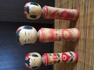 Kokeshi 3 Houten Poppen Japans