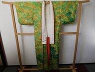 Kimono groen regenboog dubbele kraag