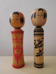 2 Houten Japanse Kokeshi poppen