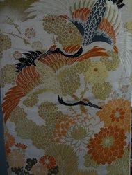 Japanse obi als muurdecoratie oranje/goud kraanvogel