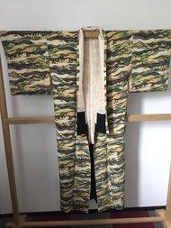 Traditionele Japanse Kimono groen/geel/grijs golf