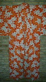 Japanse Yukata oranje bloemen