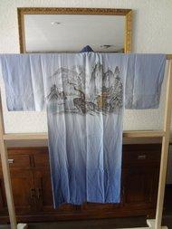 Japanse Nagajiban Zijde Kimono licht blauw Yama