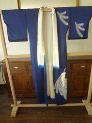 Traditionele Japanse Zijden Kimono blauw-tori