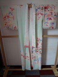 Traditionele Japanse Zijden Kimono Kawa Tempel Shizen Groen Rose