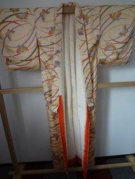 Traditionele Japanse zijden Kimono Vlinders Strepen JP