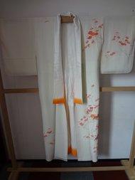 Traditionele japanse kimono oranje waaier vintage japans
