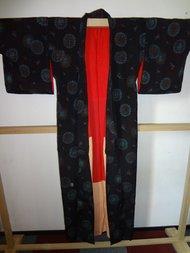Traditionele Japanse Kimono zwart rood hana Japan