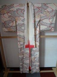 Traditionele Japanse Zijden Kimono rood wit waaier ougi
