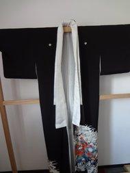 Traditionele Japanse Kimono Kurotomesode Zwart Vogels Japan
