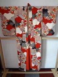 Traditionele Japanse Zijden Kimono Aka Hana Japan Rood showa