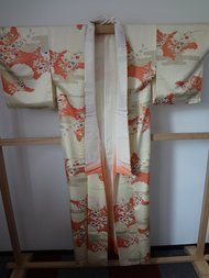 Traditionele Japanse Kimono Bloemen Rood midden Hana