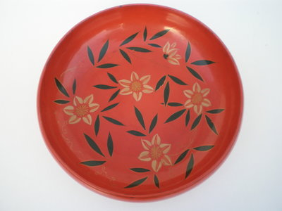 Japanse lakschaal bloem japan lakwerk nurimono vintage japan