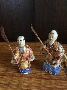 Japanse kutani yaki porseleinen beeldjes okina takasago