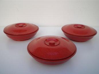 3 japanse lakwerk schaaltjes rood deksel japan hout nurimono
