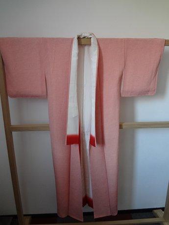 Traditionele Japanse Vintage Kimono Rose Rood Gestipt