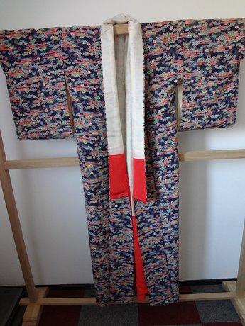 Traditionele Japanse Kimono Donkerblauw Bloem