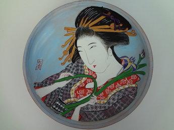 Japanse vrouw bord schaal geisha japans vintage japan