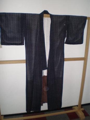 Traditionele Japanse Kimono Grijze Streep Vintage Antiek