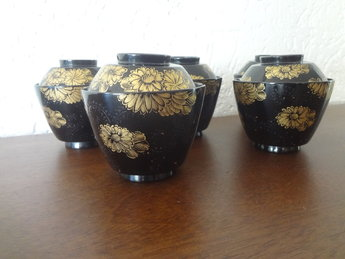 Japans lakwerk nurimono koppen 5 stuks japans dekselkop