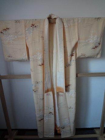 Traditionele Japanse Vintage Kimono Japan Beige Oranje Uchi