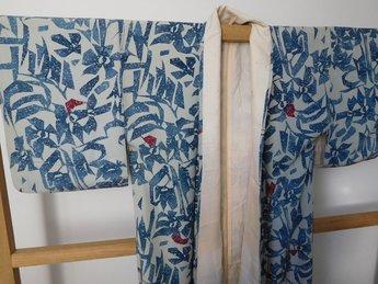 Japanse Kimono wit blauwe bloemen