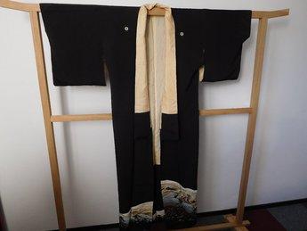 kimono zwart berglandschap