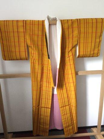 kimono geel met oranje ruiten