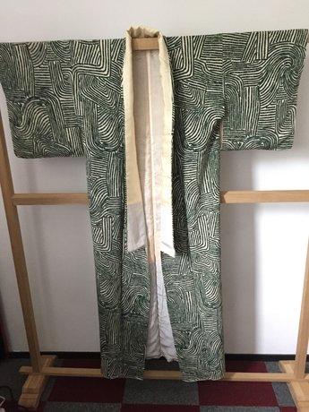 Traditionele Japanse Kimono donkergroen streepin vakken