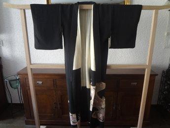 Traditionele Japanse Antiek Zijden Kimono Zwart Kurotomesode