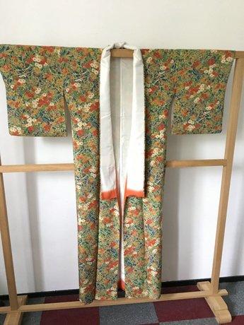 Traditionele Japanse Kimono Donkergroen bloemen