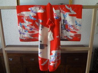 Japanse Kimono Girl Rood tsuru