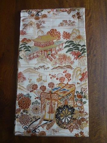 Japanse zijden obi goud/zwart oranje met bloemen