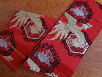 Traditionele Japanse Obi / Kimono band Rood-Tori Fukuro Zijde*