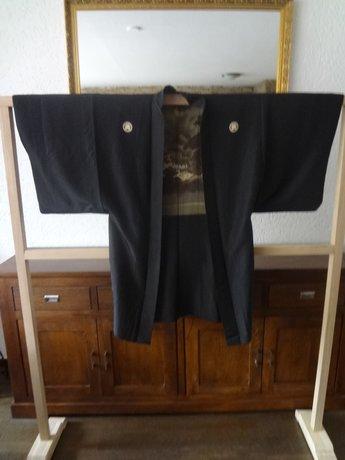 Japanse Zijden Haura Haori Kimono zwart Japan