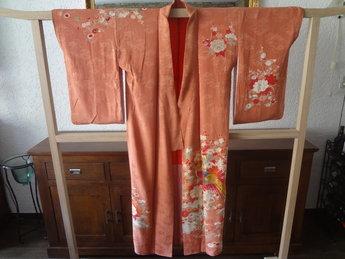 Traditionele Japanse Zijden Kimono Rose hana tori