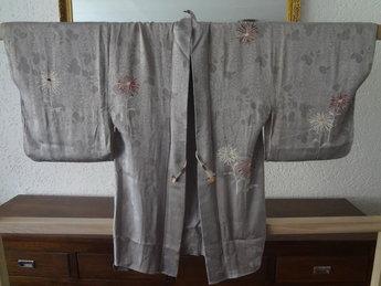 Traditionele Japanse Zijden Haori Zilver-Hana