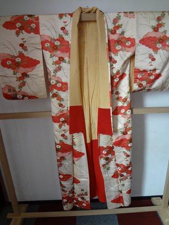 Traditionele Japanse Zijden Kimono Rood Hana Beige