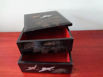 Japanse Jubako Lakwerk Showa periode Japan Kraanvogels zwart
