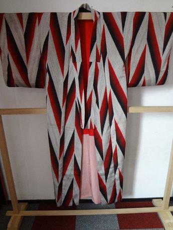 Traditionele Japanse Kimono Gestreept Rood Zwart Zilver Japan