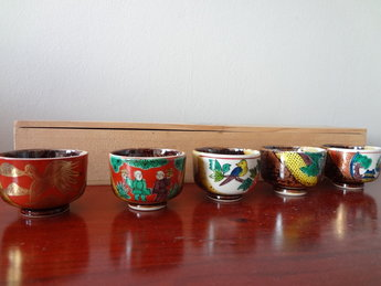Kutani Japans Porseleinen Sake Kopjes Vintage Japan