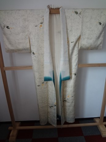 Traditionele Japanse zijden Kimono Licht lijn Blad JP