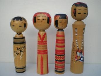 3 Japanse Kokeshi Vintage