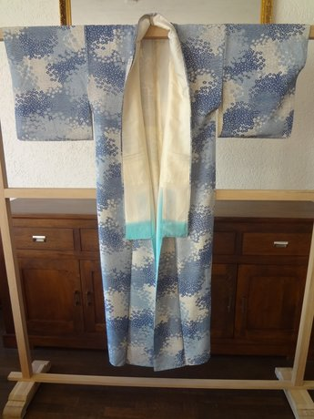 Traditionele Japanse Zijden Kimono lichtbl-ao Japan Showa