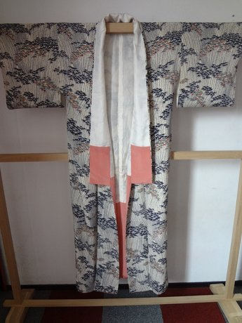 Traditionele Japanse zijden kimono ki gestreept blad Japan